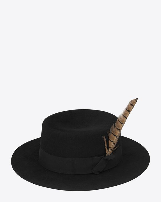 saintlaurent, Feathered Hat in Black Felted Rabbit Fur