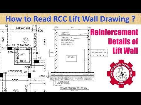 Reinforcement Detail Of Lift Wall How To Read Rcc Lift Wall Drawing Youtube Wall Drawing Reinforcement Reading