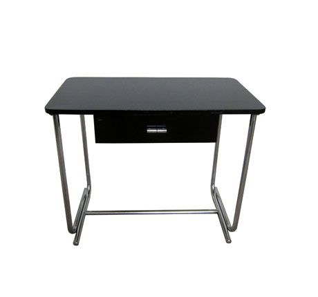 wolfgang hoffmann howell furniture company st charles illinois tubular chrome plated steel base black lacquered wood some wear to drawer front black and chrome furniture