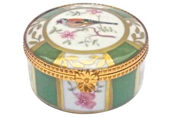 Porcelain Bird & Floral Limoges Box