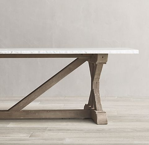 Salvaged Wood Marble X Base Rectangular Dining Table Collection Salvaged Grey Rh In 2020 Rectangular Dining Table Concrete Table Salvaged Wood