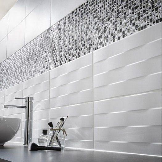Carrelage Mur Blanc Decor Hawai Tresse L 25 X L 50 Cm Shower