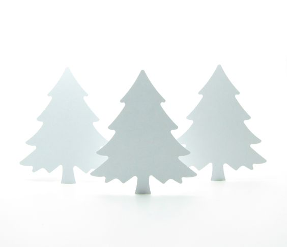Tree Paper Punches Large White Christmas Holiday Fir Tree