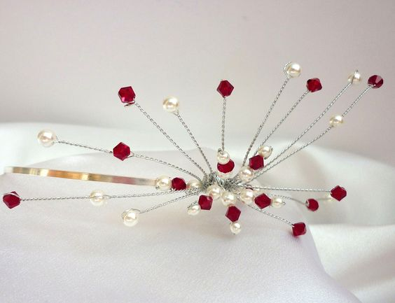 Red crystal and ivory pearl tiara, handmade, http://www.posie.co.uk/tiaras/crystal-pearl-side-spray-tiara-1.html: