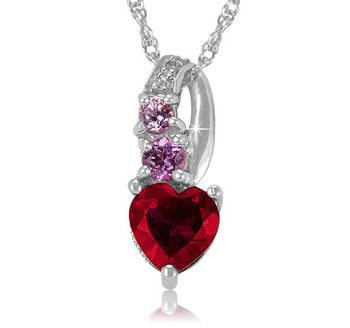 $14.99 - Created Ruby and Pink Sapphire Sterling Silver Heart Pendant