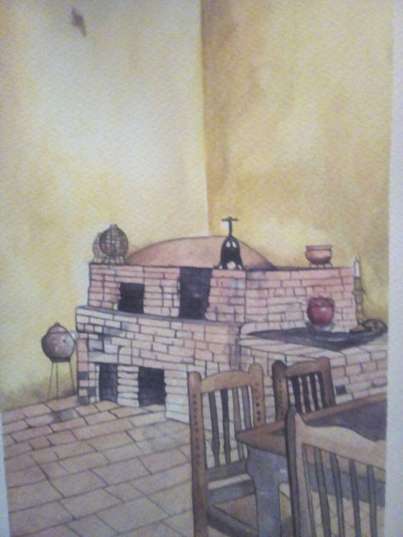 Acuarela cocina antigua
