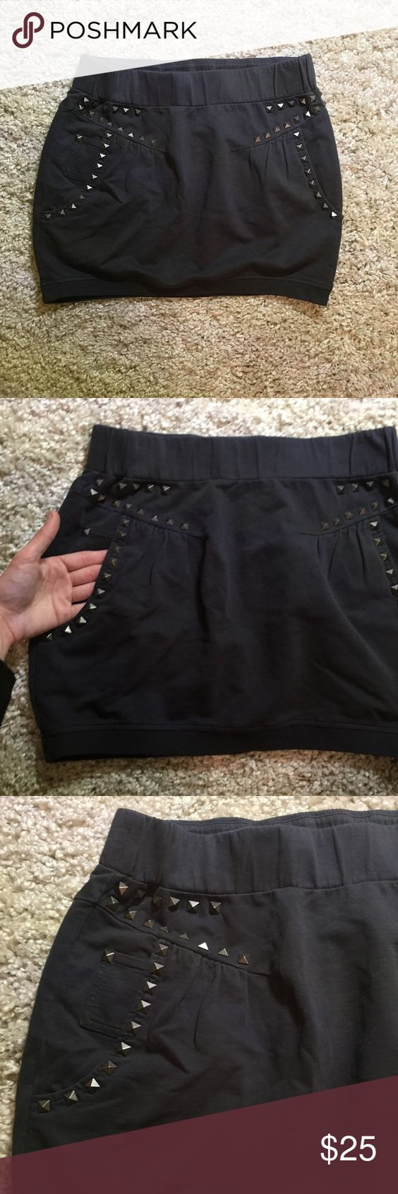 ZARA STUDDED SKIRT dark gray studded mini skirt from zara. sweatshirt like material. 100% cotton. side pockets. elasticize waistband. lightly worn. in great condition! fits a size medium.    🍃 10% off bundles! 🍃 always open to offers! 🍃 feel free to leave any questions or comments! Zara Skirts Mini