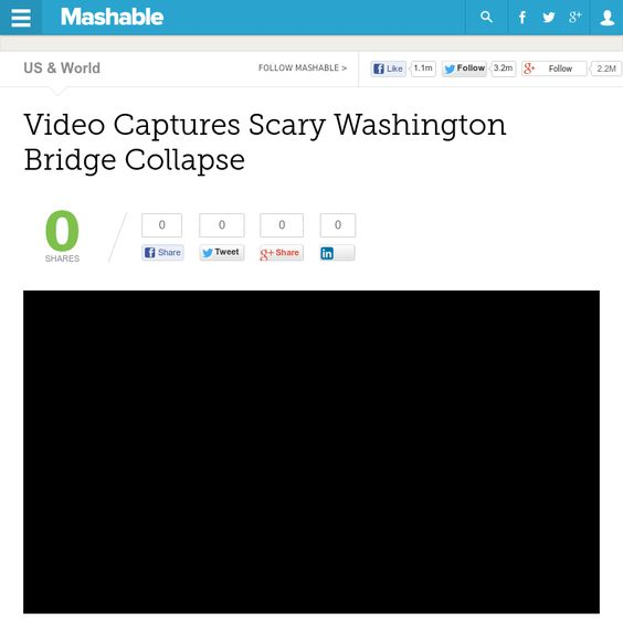 http://mashable.com/2013/05/24/video-captures-bridge-collapse/ Video Captures Scary Washington Bridge Collapse | #Indiegogo #fundraising http://igg.me/at/tn5/