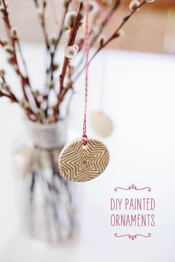DIY - Painted Ornaments via Fellow Fellow using Oven Bake Clay + Multipurpose Metallic Paint - Full Step-by-Step Tutorial