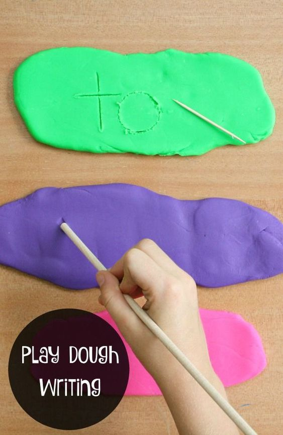 Use this play dough writing tray to practice writing letters, sight words, numbers and more. This is a great way for preschoolers to practice fine motor skills. #crafts #diyprojects