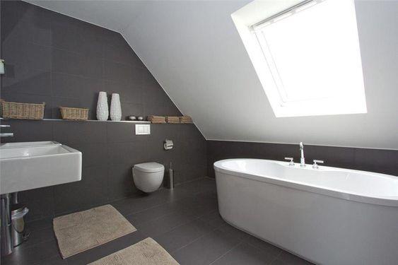 Grijze Wasbak Badkamer : Toilet Onder Schuin Dak