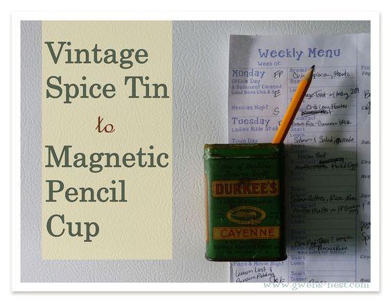 Vintage Spice Tin Pencil Cup