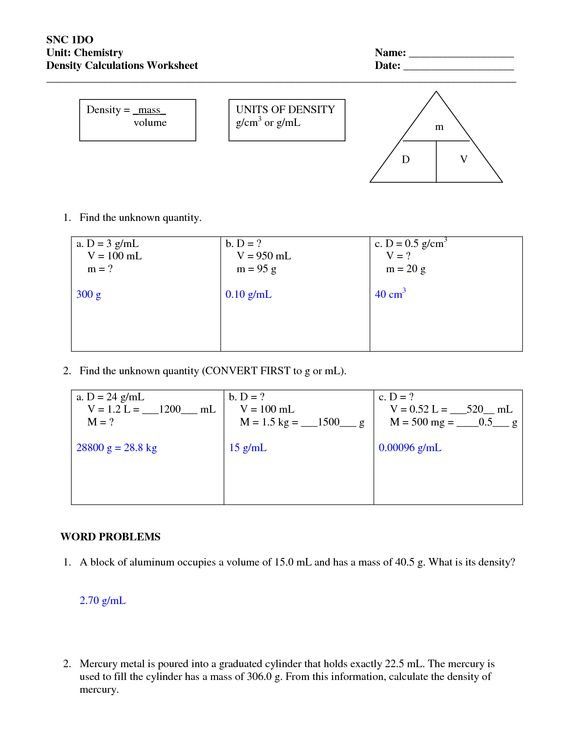 Printables Density Worksheet Chemistry density worksheets with answers worksheet answers