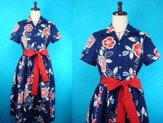 1960's retro cotton kimono shirt dress - used kimono of vintage by…