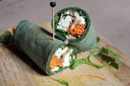 Wrap à la spiruline, carotte, feta, roquette et crème de sésame…
