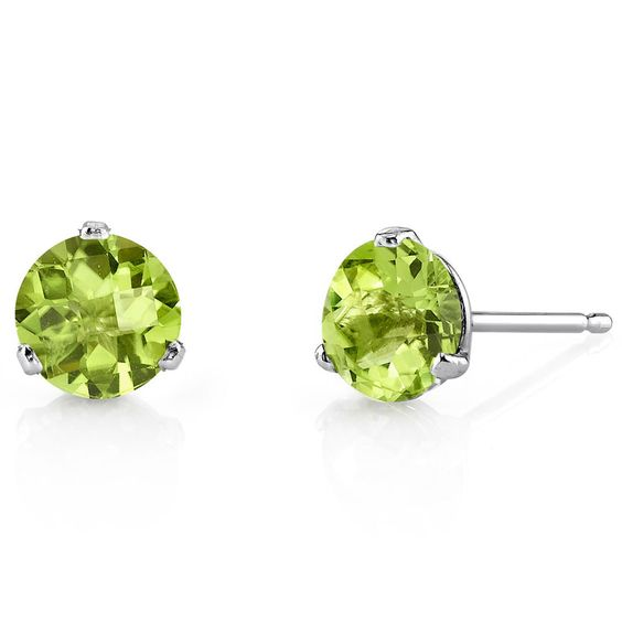 14K White Gold Round 3 Prong Martini Peridot Earrings #JRyanFineJewelry #Stud