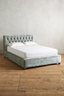 Anthropologie Slub Velvet Tufted Lena Bed #AnthroFave