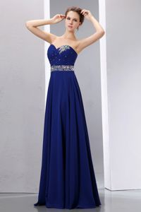 Royal Blue Sweetheart Chiffon Gown For Military Ball with a ...