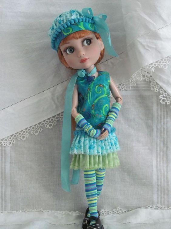 "Patience Tonner 14"" BJD fashion Peacock Dress set OOAK by JEC #DollClothingAccessories"