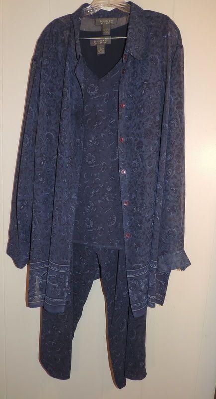 Woman's Lane Bryant 26/28 3 Piece Navy Pattern Chiffon Pant Outfit  #LaneBryant #PantSets