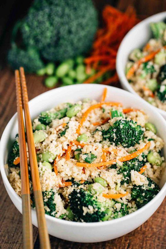 Cauliflower 'Rice' Stir Fry Bowl |via veggiechick.com | Recipe is vegan w/ gluten free option-use GF tamari