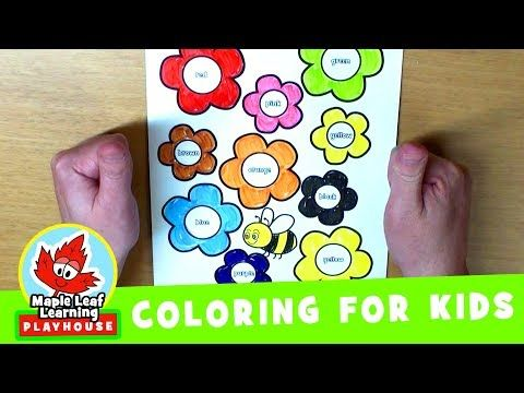 445 Flowers And Bee Coloring Page For Kids Maple Leaf Learning Playhouse Youtube Bee Coloring Pages Coloring Pages For Kids Cool Coloring Pages