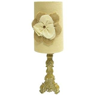 "20"" Neutral Small Lamp with Burlap Shade & Flower 