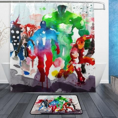 All Classic Marvel Heroes Shower Curtain And Bath Mat Plastic Shower Curtain Shower Curtain Curtains