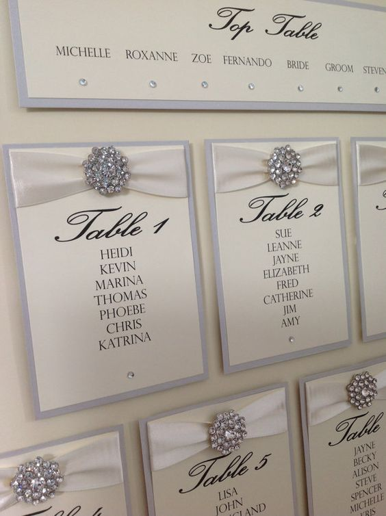 Luxury Wedding Table Seating Plan by ChosenTouches on Etsy, £39.99. You could make this yourself and colour coordinate for the perfect shabby chic wedding guest plan
