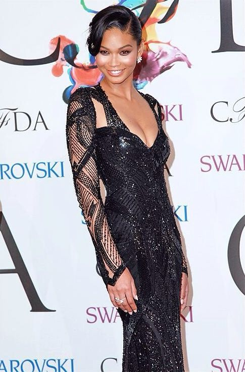 Chanel Iman in #MoniqueLhuillier at the @CFDA awards last night in NYC.
