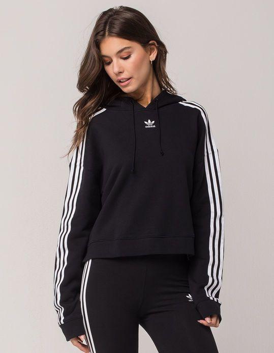 ADIDAS Originals 3 Stripes Black Womens Crop Hoodie | Adidas