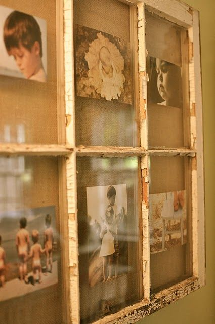 This vintage window reused to display photos found at how for Using old windows as picture frames