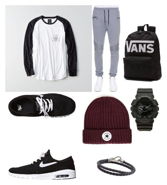 """""""Untitled #11"""" by maryam-hussaini2626 on Polyvore featuring American Eagle Outfitters, Balmain, NIKE, Topman, Vans, G-Shock, Tod's, men's fashion and menswear"""