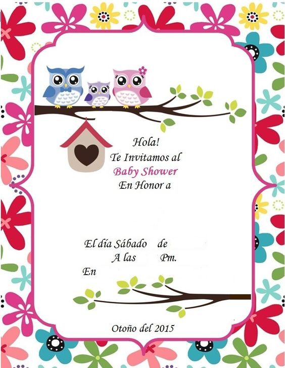 Invitacion Baby Shower Buhos Invitaciones Pinterest Babies Showers and Baby showers