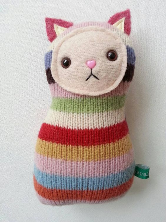 Rainbow Kitty // upcycled cat plush // stuffed cat by sarahbrown