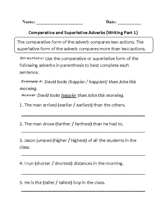 List comparative words essays