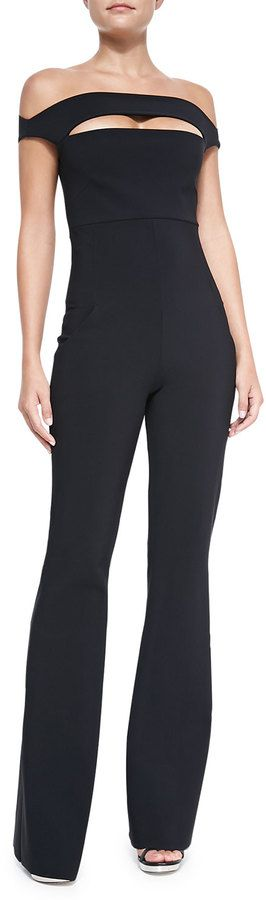 $695, Black Jumpsuit: La Petite Robe di Chiara Boni Rebecca Off Shoulder Peekaboo Jumpsuit. Sold by Neiman Marcus. Click for more info: http://lookastic.com/women/shop_items/147488/redirect: