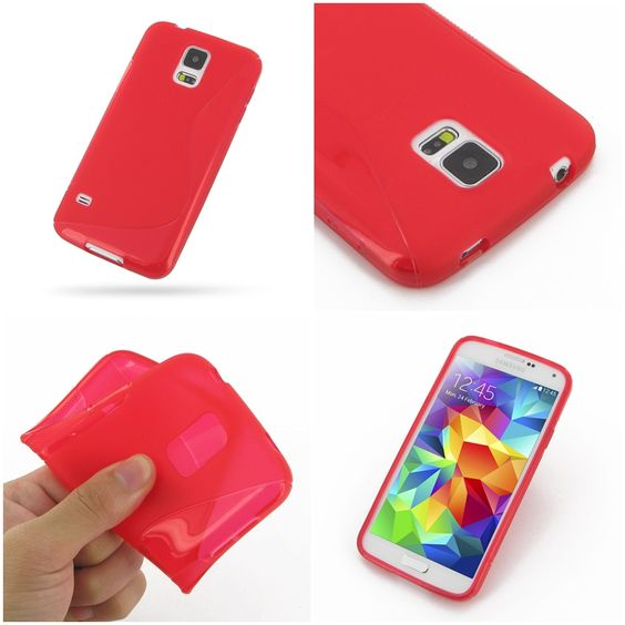 PDair Soft Plastic Case for Samsung Galaxy S5 SM-G900 (Red/S Shape pattern)
