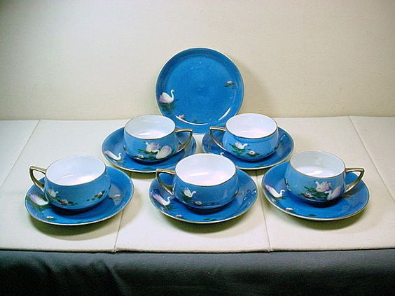 NIPPON 10pc BLUE SWAN HAND PAINTED TEA CUPS & SAUCERS