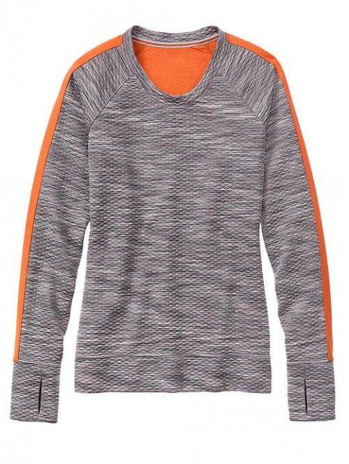 Athleta Women's Snowscape Crew Grey Spacedye Top | Clothing
