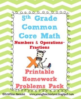 5th Grade Math Review or Homework Problems {Fractions} | Pinterest ...