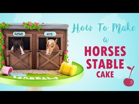 Horse Stable Cake Tutorial How To Cherry School Youtube Horse Cake Fondant Horse Horse Birthday Cake