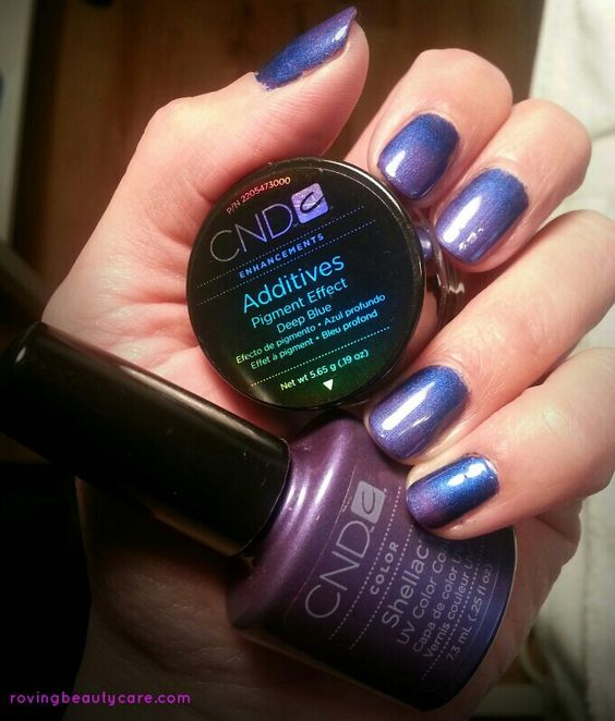 Love this #CND colour combo! #Shellac Purple Purple with #CND Additives Deep Blue
