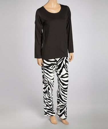 Take a look at this Black Zebra Knit Long Pant Pajamas - Women by Aegean Apparel on #zulily today!
