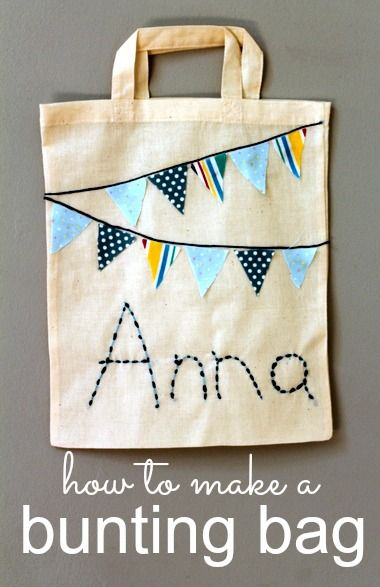 So pretty, and easy to make. Lovely back-to-school craft :: a personalised bunting book bag
