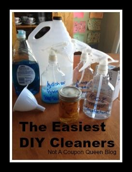 The EASIEST diy cleaners! vinegar cleaners. orange scented cleaners. blue dawn dish soap soap scum cleaner. from Not A Coupon Queen