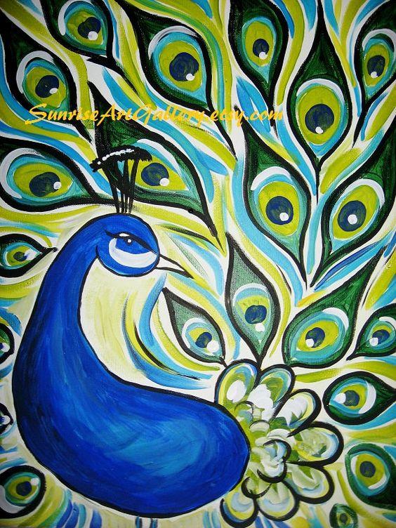 Peacock Original Acrylic Painting 16x20 | Artworks, Acrylics and ...