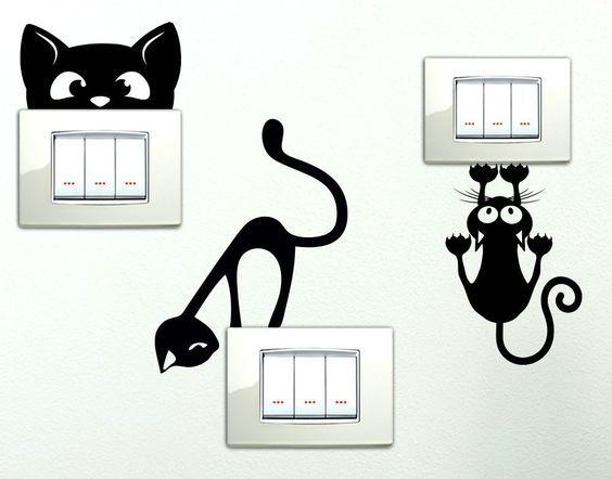 Personalizza le stanze della tua casa. Adesivi Da Interruttore Cat Sticker Drawing Room Decor Wall Painting Decor Diy Wall Painting