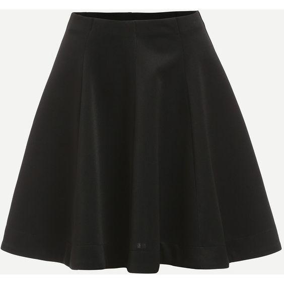 Plain Black Flare Skirt (16 AUD) ❤ liked on Polyvore featuring ...