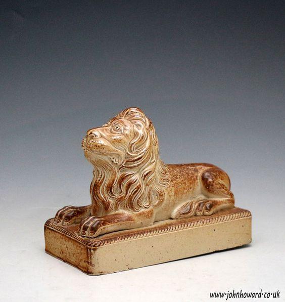Derbyshire stoneware model of a lion on base, probably Briddon Works c1840  Price: gbp 975.00 (Pound Sterling) USD 1413.75 (US Dollars)